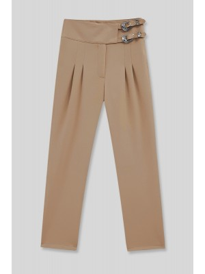 Buckled Waist Trousers -Mink color