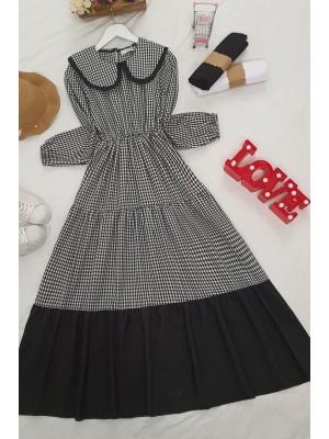 Baby collar dress -Black
