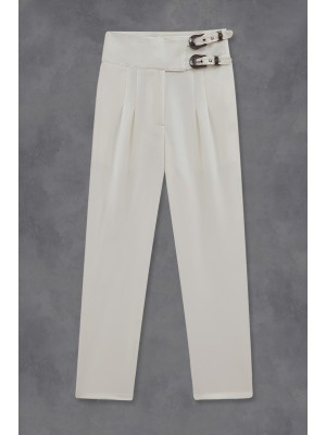 Buckled Waist Trousers -White