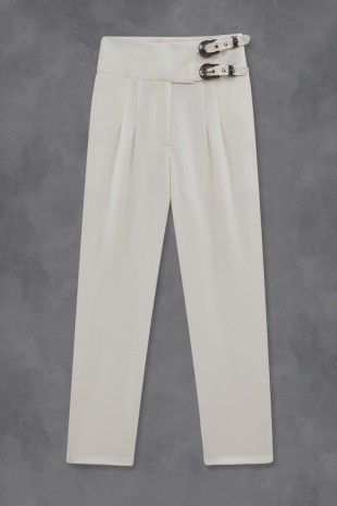 Beli Tokalı Pantolon -Beyaz