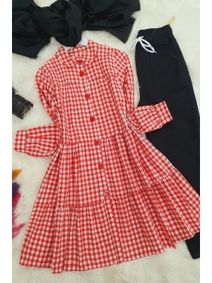 Buttoned plaid dress -Red