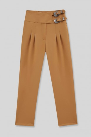 Beli Tokalı Pantolon  -Tarçın