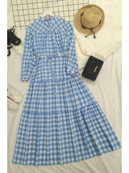 Check lace tunnel dress  -Blue