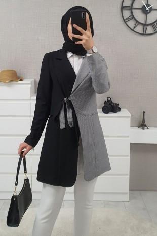 Çift Renk Uzun Ceket -Siyah