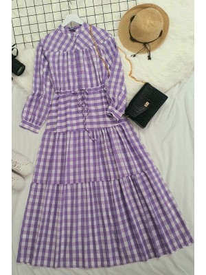 Check lace tunnel dress  -Lilac
