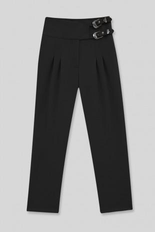 Beli Tokalı Pantolon -Siyah