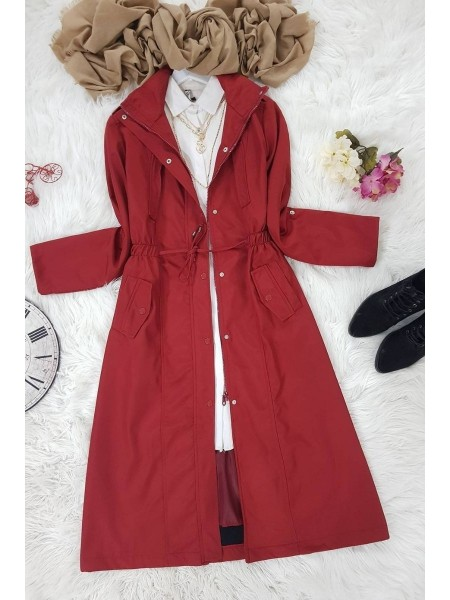 Lined Sports Trench Coat -Maroon