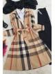 Plaid waist belt trench coat -Mink color