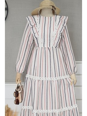 Güpür Detaylı Keten Uzun Elbise -İndigo
