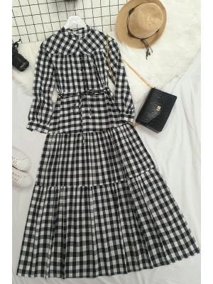 Check lace tunnel dress  -Black