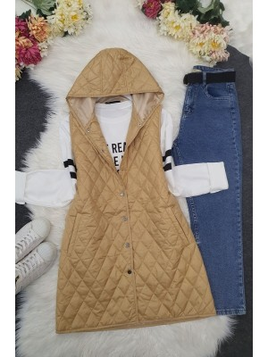 Hooded Zippered Quilted Vest -Light Mink