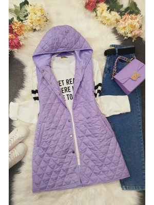 Hooded Zippered Quilted Vest -Lilac
