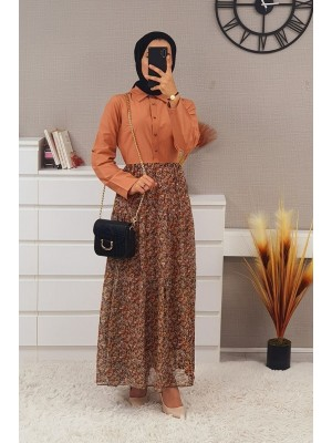 Six Chiffon Piece Long Dress -Brick color