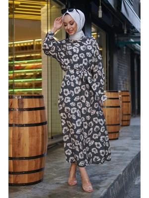 Çiçek Baskılı İkili Elbise -Black