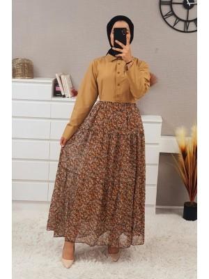 Six Chiffon Piece Long Dress -Mink color