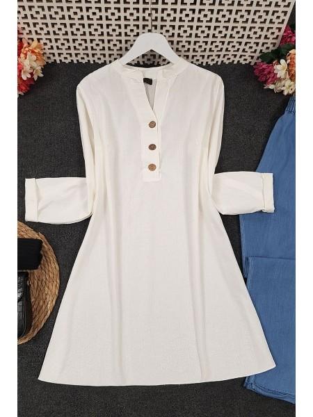 Half Button Linen Tunic -Cream color