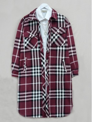 Plaid Inner Lined Buttoned Double Pocket Coat -Maroon