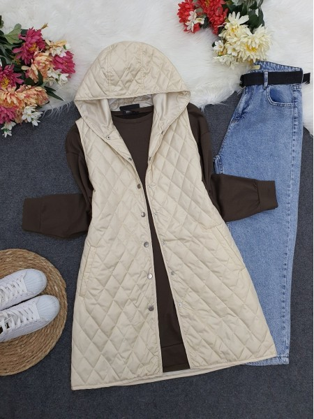Hooded Zippered Quilted Vest  - Beige