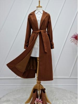 Shawl Collar Lined Belt Long Cachet Coat -Brown