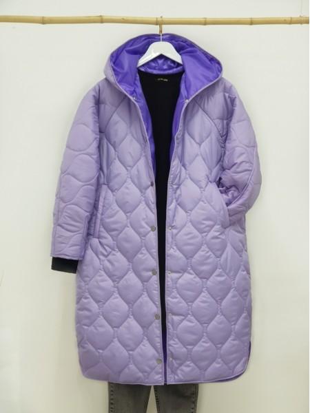 Hooded Snap Snap Patterned Slit Coat -Lilac