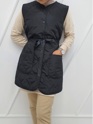 Snap Snap Tunnel Lace Up Pocket Pocket Vest -Black