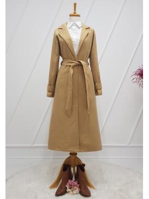Shawl Collar Lined Belt Long Cachet Coat - Beige