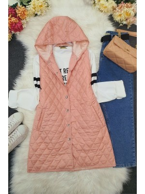 Hooded Zippered Quilted Vest -Powder