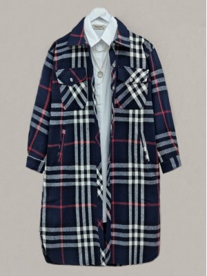 Plaid Inner Lined Buttoned Double Pocket Coat -Navy blue