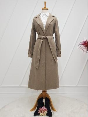 Shawl Collar Lined Belt Long Cachet Coat -Stone