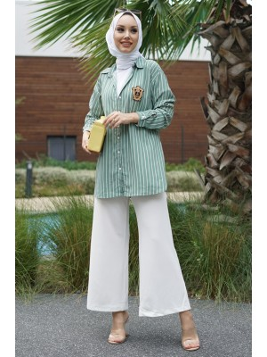 Rigged Detailed Sleeve Cuff Striped Shirt -Mint Color