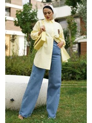 Cuffed Rim Detail Linen Shirt -Yellow