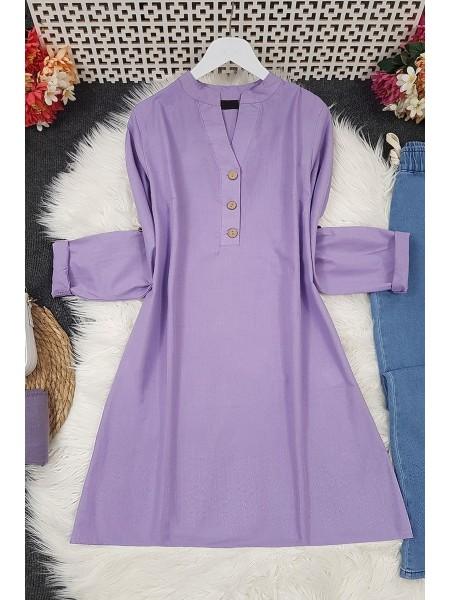 Half Button Linen Tunic -Lilac