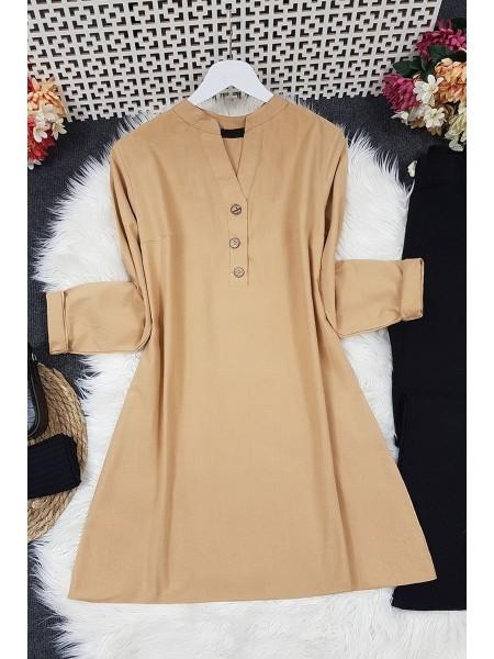 Half Button Linen Tunic - Beige