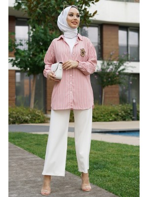 Rigged Detailed Sleeve Cuff Striped Shirt-Powder