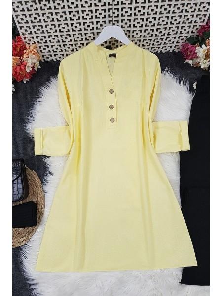 Half Button Linen Tunic -Yellow