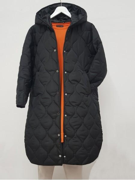 Hooded Snap Snap Patterned Slit Coat -Black
