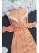 Checkered Long Dress -Orange