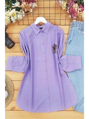 Cuffed Rim Detail Linen Shirt -Lilac