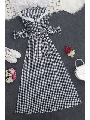 Checkered Long Dress -Black