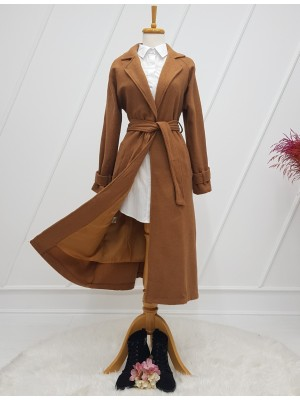 Shawl Collar Lined Belt Long Cachet Coat -Snuff