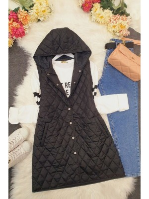Hooded Zippered Quilted Vest -Black