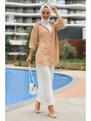 Rigged Detailed Sleeve Cuff Striped Shirt-Mink color