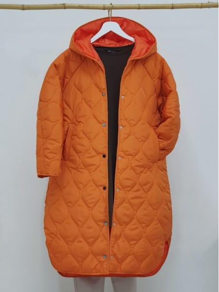 Hooded Snap Snap Patterned Slit Coat -Orange