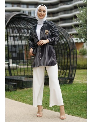 Rigged Detailed Sleeve Cuff Striped Shirt-Black