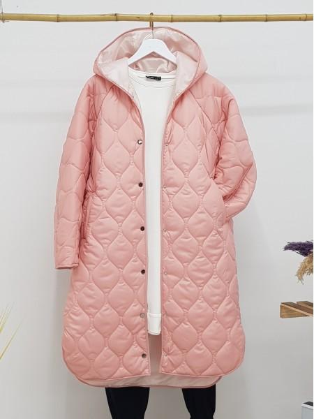Hooded Snap Snap Patterned Slit Coat -Pink
