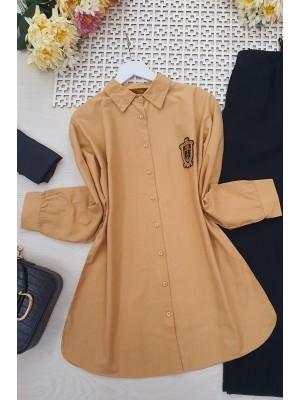 Cuffed Rim Detail Linen Shirt -Mink color