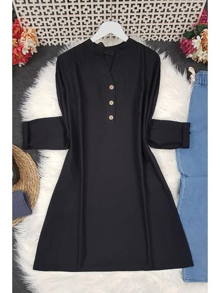 Half Button Linen Tunic -Black