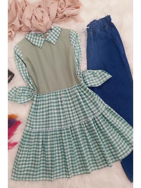 Plaid Tunic -Green