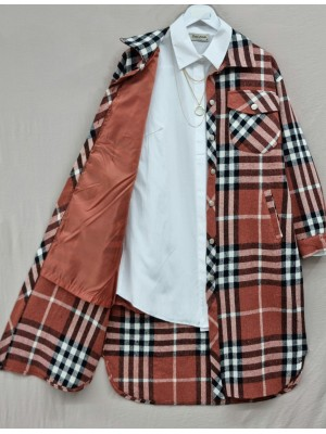 Plaid Inner Lined Buttoned Double Pocket Coat -Brick color