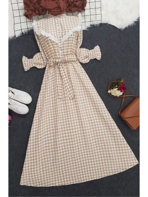 Checkered Long Dress -Mink color